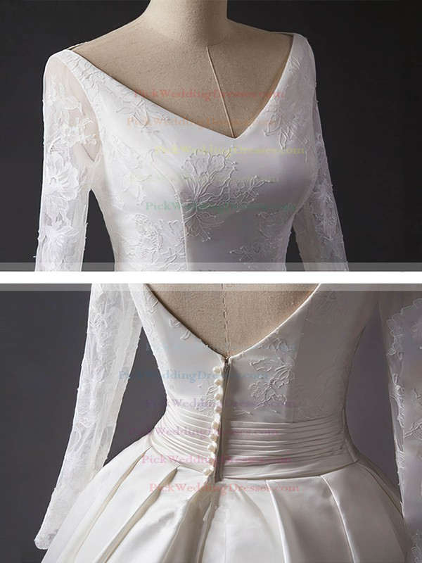 Lace Satin V-neck Chapel Train Ball Gown Sashes / Ribbons Wedding Dresses #PWD00023344