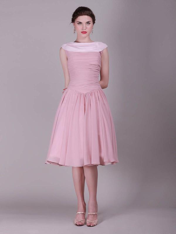A-line Knee-length Chiffon Pleats Bateau Bridesmaid Dresses #PWD02013632