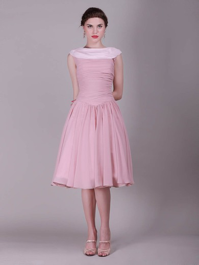 A-line Knee-length Chiffon Pleats Bateau Bridesmaid Dresses #PWD02013632