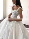 Satin V-neck Cathedral Train Ball Gown Flower(s) Wedding Dresses #PWD00023345