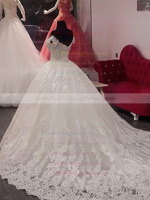 Tulle Off-the-shoulder Chapel Train Ball Gown Appliques Lace Wedding Dresses #PWD00023346