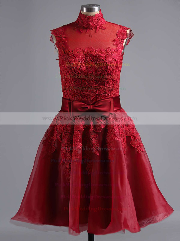 High Neck Tulle Appliques Lace Inexpensive Knee-length Bridesmaid Dresses #PWD010020101414