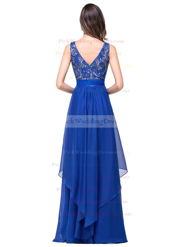 Scoop Neck Lace Chiffon Floor-length Sashes / Ribbons Royal Blue Bridesmaid Dresses #PWD010020101628