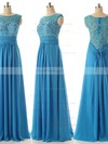 Discounted A-line Scoop Neck Chiffon Tulle Appliques Lace Light Sky Blue Bridesmaid Dresses #PWD010020101630