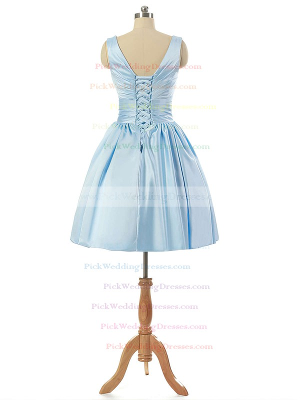 V-neck Light Sky Blue Satin Lace-up Pleats Short/Mini Bridesmaid Dresses #PWD010020101795