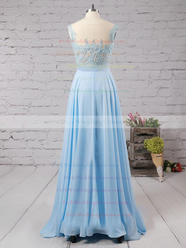 Affordable Scoop Neck Blue Chiffon Tulle Appliques Lace Floor-length Bridesmaid Dresses #PWD010020101989