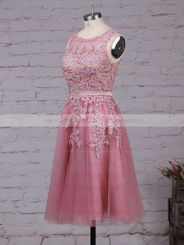 New Style Scoop Neck Tulle Appliques Lace Knee-length Bridesmaid Dresses #PWD010020102050