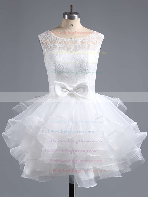 Wholesale Scoop Neck Lace Tulle with Bow Short/Mini Bridesmaid Dresses #PWD010020102158
