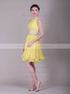 Sheath/Column Short/Mini Organza Ruffles Bateau Bridesmaid Dresses #PWD02013633