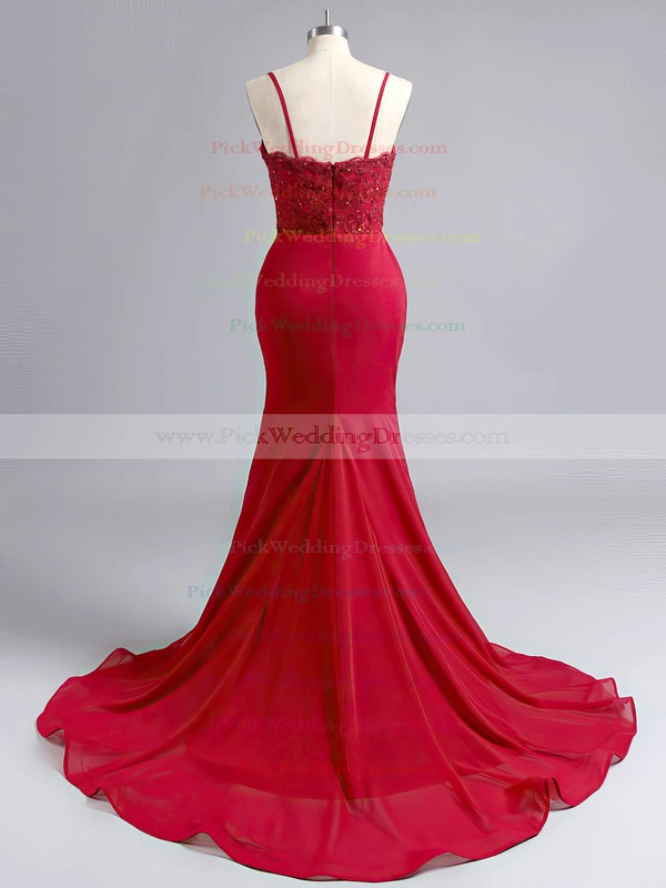 Sheath/Column Jersey Sweep Train Appliques Lace Beautiful Bridesmaid Dresses #PWD010020102223