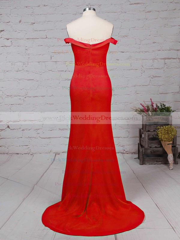 Sheath/Column Off-the-shoulder Red Silk-like Satin Ruffles Modern Bridesmaid Dresses #PWD010020102332