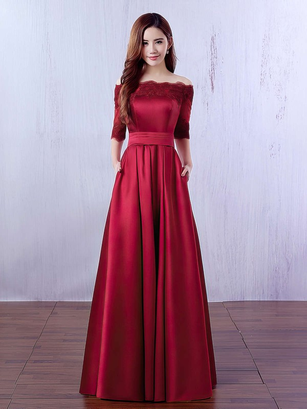 A-line Off-the-shoulder Satin Floor-length Appliques Lace Burgundy Bridesmaid Dresses #PWD010020102406