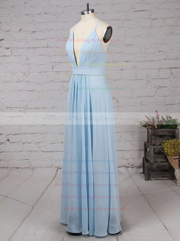 Backless A-line V-neck Chiffon Floor-length Split Front Cheap Bridesmaid Dresses #PWD010020102501