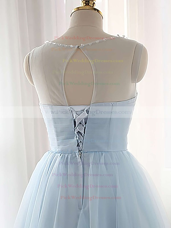 Pretty A-line Scoop Neck Tulle Short/Mini Beading Light Sky Blue Bridesmaid Dresses #PWD010020102518