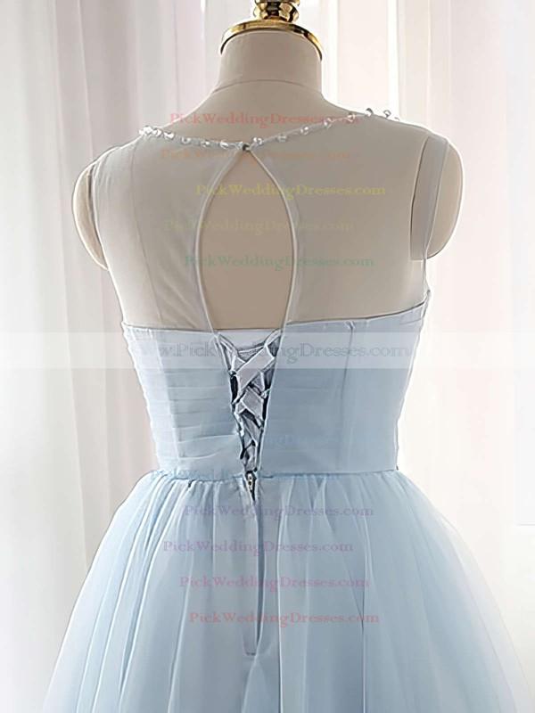 Pretty A-line Scoop Neck Tulle Short/Mini Beading Light Sky Blue Bridesmaid Dresses #PWD010020102518
