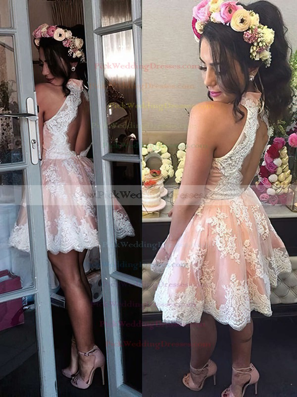 A-line High Neck Best Lace Short/Mini Flower(s) Open Back Bridesmaid Dresses #PWD010020102525