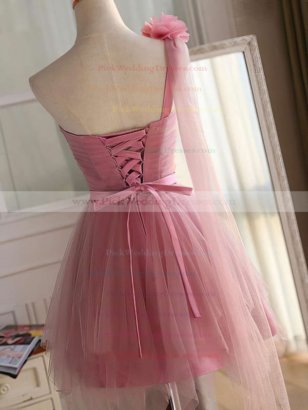 Princess One Shoulder Tulle Short/Mini Sashes / Ribbons Fashion Bridesmaid Dresses #PWD010020102533