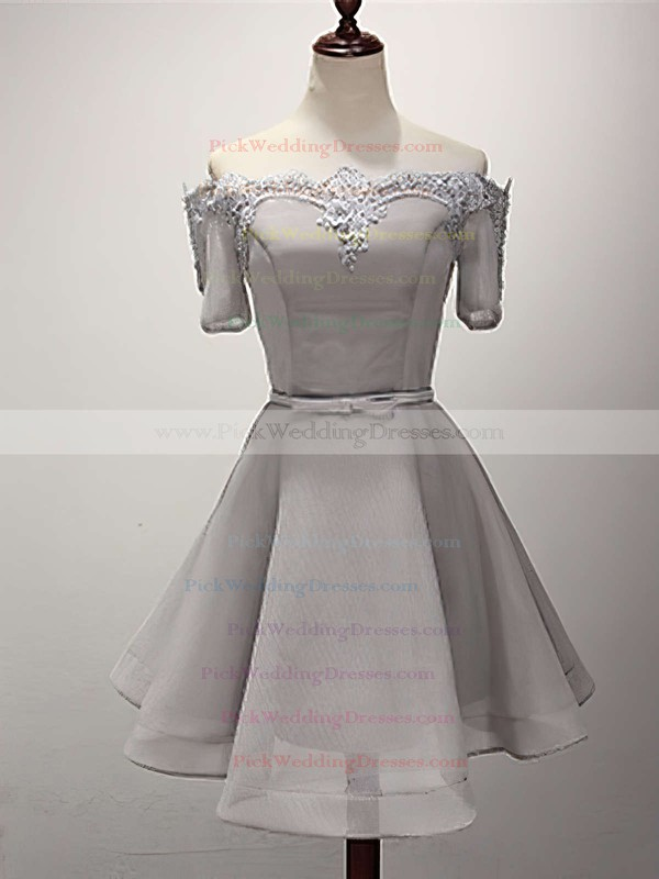 A-line Off-the-shoulder Satin Organza Short/Mini Sashes / Ribbons Bridesmaid Dresses #PWD010020102547