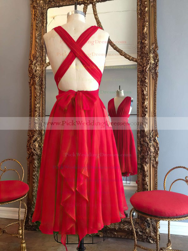 Hot A-line V-neck Chiffon Knee-length Ruffles Red Backless Bridesmaid Dresses #PWD010020102648