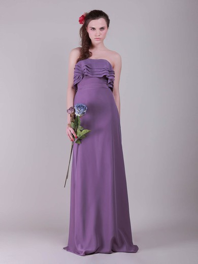 A-line Floor-length Chiffon Ruffles Strapless Bridesmaid Dresses #PWD02013635