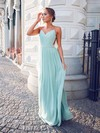 Unique A-line V-neck Chiffon Floor-length Ruffles Backless Bridesmaid Dresses #PWD010020102734