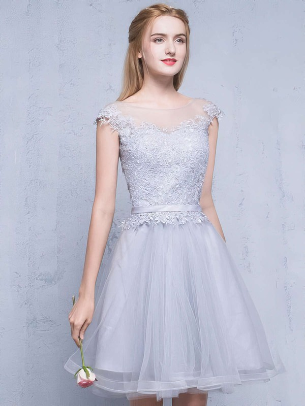 A-line Scoop Neck Tulle Short/Mini Appliques Lace Pretty Bridesmaid Dresses #PWD010020102753