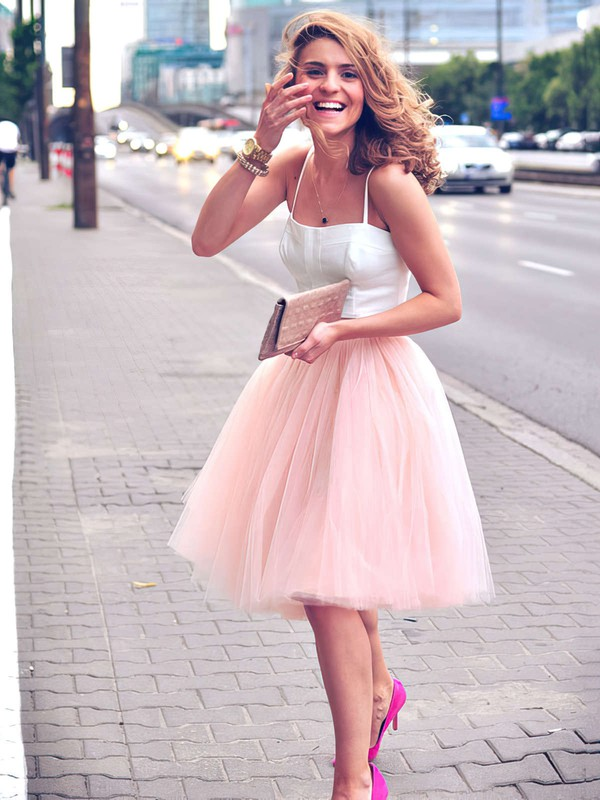 Two Piece A-line Sweetheart Tulle Knee-length Ruffles Trendy Bridesmaid Dresses #PWD010020102755