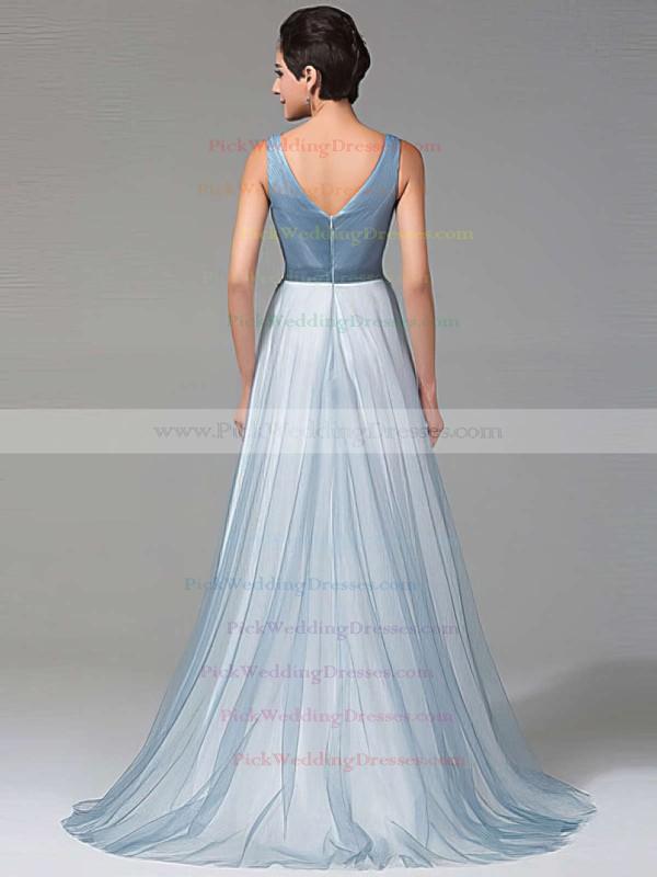 A-line V-neck Tulle Floor-length Beading Glamorous Bridesmaid Dresses #PWD010020102764