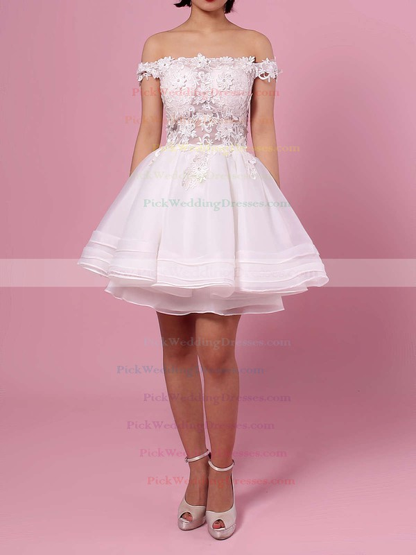 Princess Off-the-shoulder Organza Tulle Short/Mini Appliques Lace Cute Bridesmaid Dresses #PWD010020102801