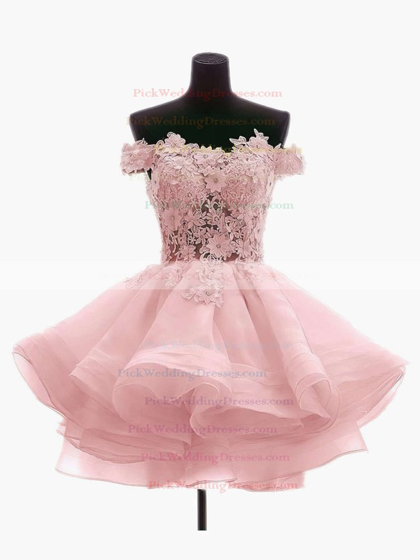 Princess Off-the-shoulder Organza Tulle Short/Mini Appliques Lace Red Cute Bridesmaid Dresses #PWD010020102801
