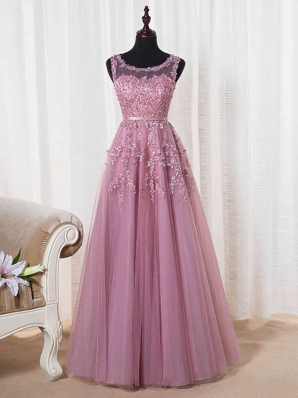 A-line Scoop Neck Tulle Floor-length Appliques Lace Graceful Bridesmaid Dresses #PWD010020102804