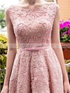A-line Scoop Neck Lace Tea-length Sashes / Ribbons  Lace-up Sweet Bridesmaid Dresses #PWD010020102877