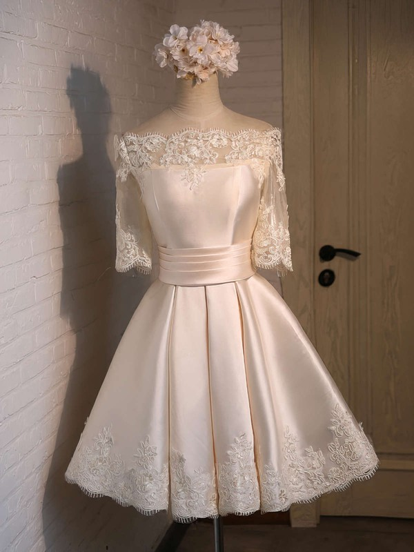 Ball Gown Off-the-shoulder Satin Short/Mini Appliques Lace 1/2 Sleeve New Bridesmaid Dresses #PWD010020103039