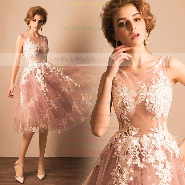 Ball Gown Scoop Neck Tulle Tea-length Appliques Lace Boutique Bridesmaid Dresses #PWD010020103045