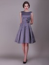 A-line Knee-length Taffeta Flower(s) Bateau Bridesmaid Dresses #PWD02013636