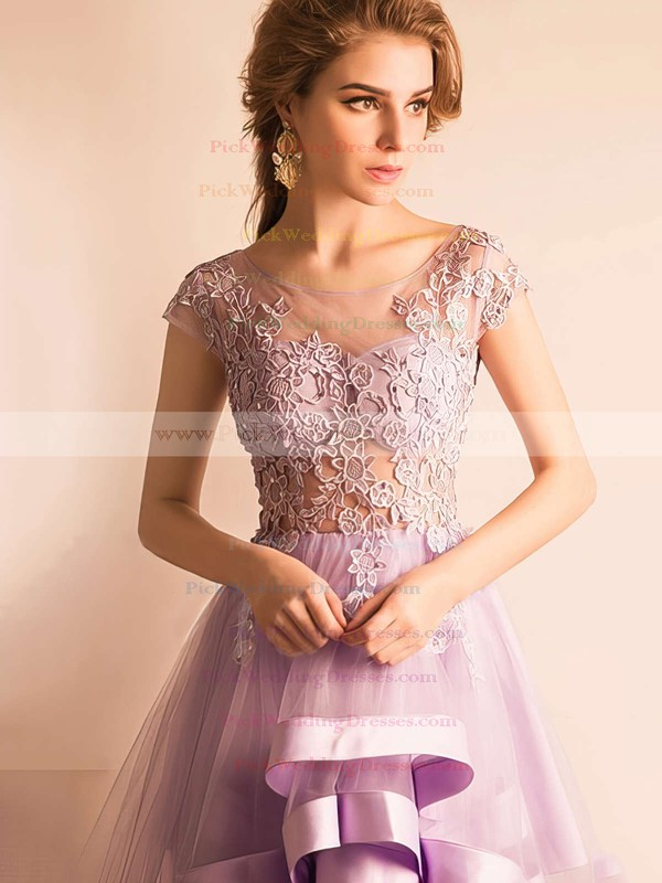 A-line Scoop Neck Tulle Asymmetrical Appliques Lace Cap Straps High Low Glamorous Bridesmaid Dresses #PWD010020103141