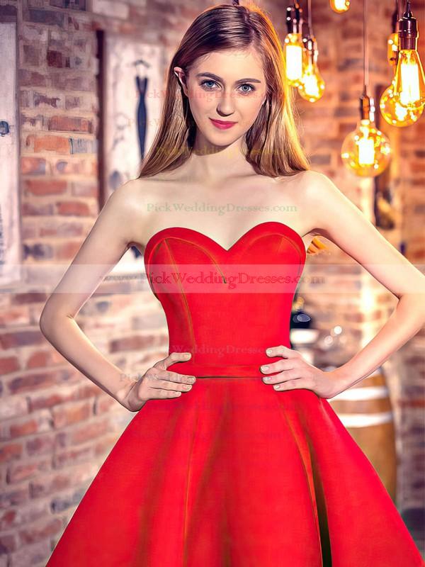 Classic Princess Sweetheart Satin Asymmetrical Ruffles Red High Low Bridesmaid Dresses #PWD010020103199