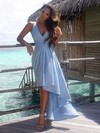A-line V-neck Chiffon Asymmetrical Sashes / Ribbons High Low Informal Bridesmaid Dresses #PWD010020103203