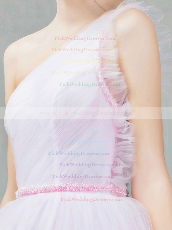 Ball Gown One Shoulder Tulle Ankle-length Sashes / Ribbons Pink Sweet Bridesmaid Dresses #PWD010020103243