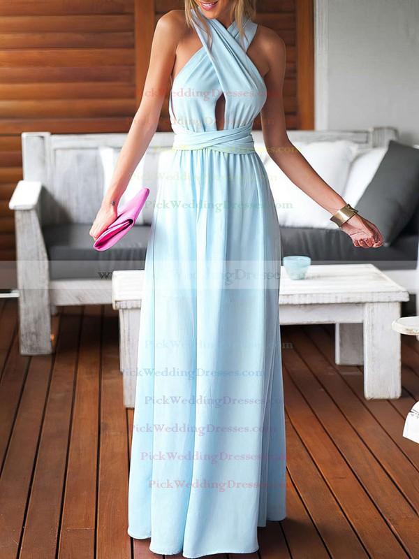 Sheath/Column V-neck Chiffon Floor-length Ruffles Blue Backless Sexy Bridesmaid Dresses #PWD010020103552