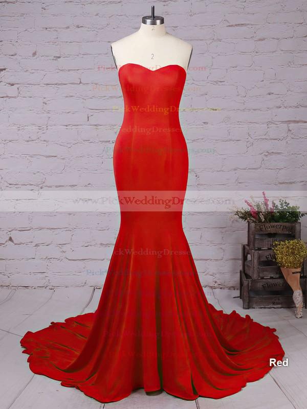 Top Trumpet/Mermaid Sweetheart Silk-like Satin Sweep Train Ruffles Red Backless Bridesmaid Dresses #PWD010020103568