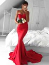 Top Trumpet/Mermaid Sweetheart Silk-like Satin Sweep Train Ruffles Red Backless Bridesmaid Dresses #PWD010020103568
