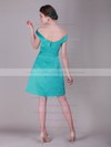 A-line Knee-length Satin Draped Off-the-shoulder Bridesmaid Dresses #PWD02013637