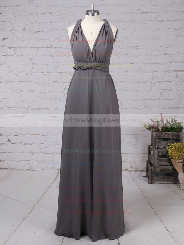 A-line V-neck Chiffon with Ruffles Floor-length Backless Informal Bridesmaid Dresses #PWD010020103579