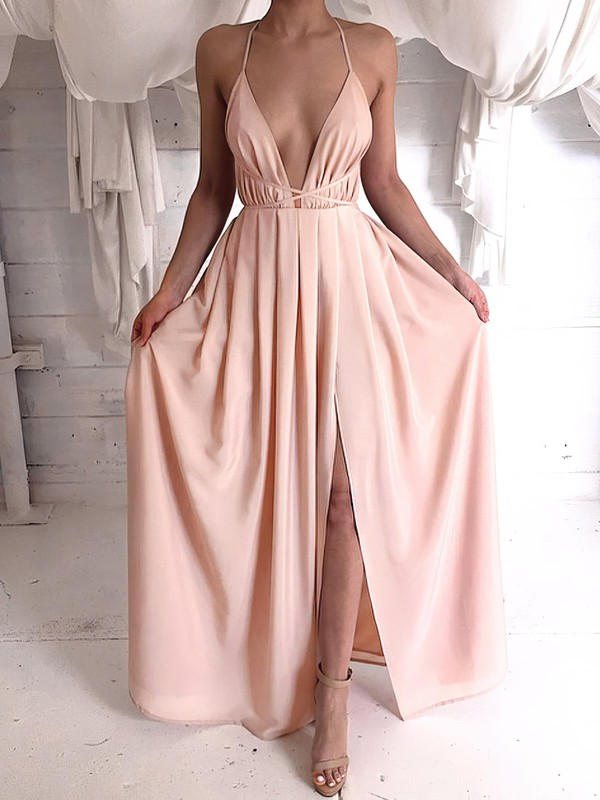 Sheath/Column V-neck Chiffon Floor-length Split Front Backless Hot Bridesmaid Dresses #PWD010020103583