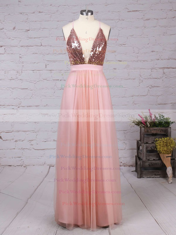 A-line V-neck Tulle Floor-length Split Front Backless Hot Bridesmaid Dresses #PWD010020103637