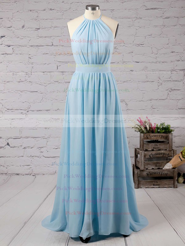 Summer A-line Halter Chiffon Floor-length Split Front Backless Bridesmaid Dresses #PWD010020103638
