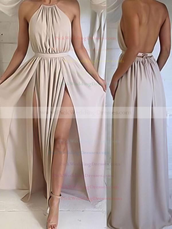 Summer A-line Halter Chiffon Floor-length Split Front Backless Bridesmaid Dresses #PWD010020103638
