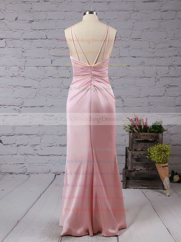 Sheath/Column V-neck Silk-like Satin Floor-length Split Front Backless Sexy Bridesmaid Dresses #PWD010020103662
