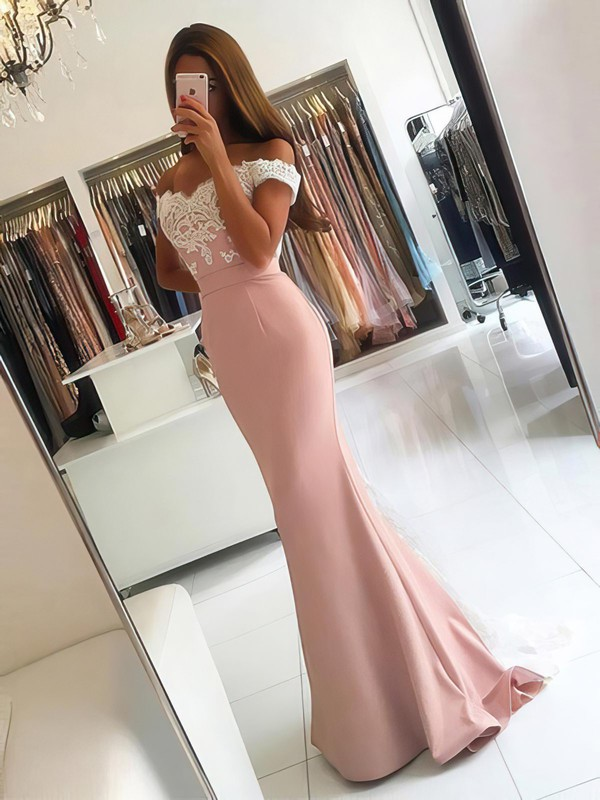 Trumpet/Mermaid Off-the-shoulder Tulle Silk-like Satin Sweep Train Appliques Lace Backless Latest Bridesmaid Dresses #PWD010020103721